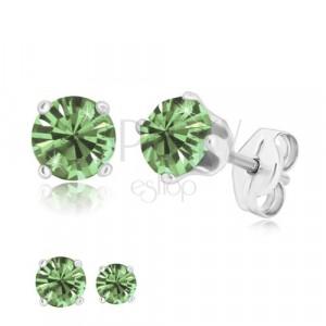 Uhani iz srebra 925 – lesketav svetlo zelen cirkon v objemki, čepki