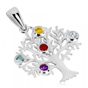 Obesek iz srebra 925 – drevo življenja, razvejana krošnja, barvni cirkoni