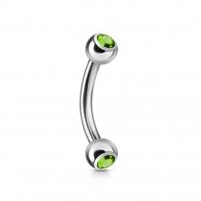 Preprost zavit piercing za obrvi z dvema cirkonoma