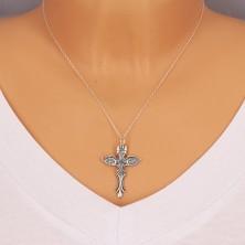 Obesek iz srebra 925 – feniks s kraljevo krono in križem, patiniran