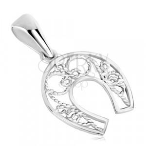 Obesek iz srebra 925 – konjska podkev za srečo, tanka vrv, simetrični motiv