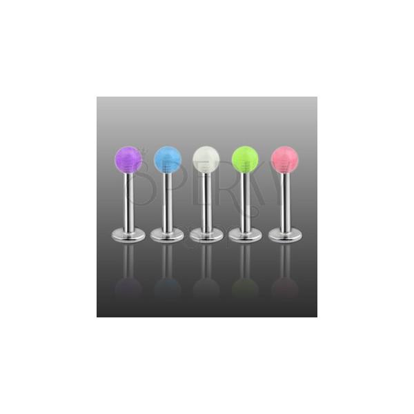 Podustnični piercing - barvna, prosojna okrogla bunkica