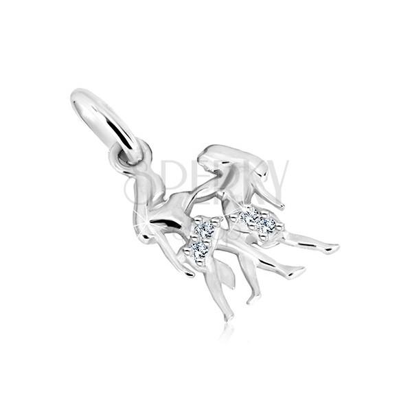 Obesek iz srebra 925 – dolgočasa dvojčka, zodiakalno znamenje DVOJČKA