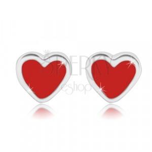 Uhani iz srebra 925 – simetrično srce z rdečo glazuro, čepki