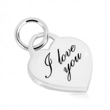 Obesek iz srebra 925 – srce, fino vgraviran napis I love you