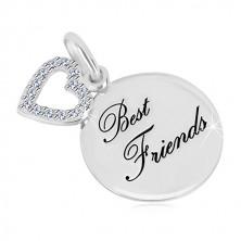 Obesek iz srebra 925 – sijoč krog, napis Best Friends, obris srca s cirkoni