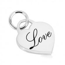Obesek iz srebra 925 – sijoče srce, okrasen napis Love