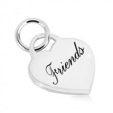 Obesek iz srebra 925 –srce z napisom Friends, sijoča površina