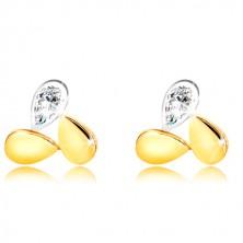 Uhani iz kombinacije 9-k zlata – kapljici in lesketav solzast cirkon