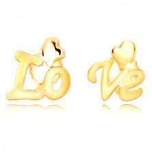 Uhani iz 9-k rumenega zlata – ločen napis Love, nesimetrično srce, čepki