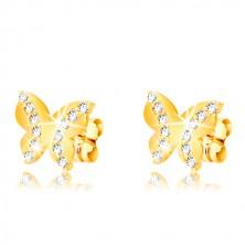 Uhani iz 9-k rumenega zlata – sijoč metulj, liniji okroglih cirkonov, čepki