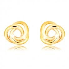 Uhani iz 9-k rumenega zlata – trije prepleteni obročki, čepki, ki se privijejo