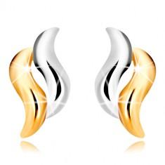 Uhani iz kombinacije 9-k zlata – dvobarvni valoviti liniji