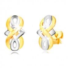 Uhani iz 9-k zlata – simbol neskončnosti, keltski vozel z belim zlatom, čepki