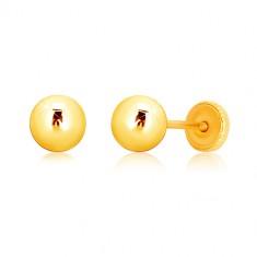 Uhani iz 9-k rumenega zlata – sijoča kroglica, čepki, ki se privijejo, 5 mm