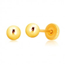 Uhani iz 9-k rumenega zlata – sijoča kroglica, čepki, ki se privijejo, 4 mm