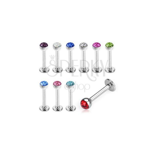 Nadustnični piercing z barvnim cirkonom