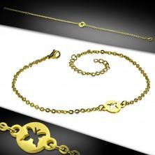 Jeklena zapestnica za zapestje ali gleženj zlate barve – krog z izrezom v obliki metulja