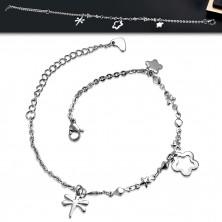 Jeklena zapestnica za zapestje ali gleženj – ovalni členi, rombi in zvezdice, obeski