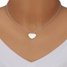 Ogrlica iz srebra 925 – simetrično srce, regratova lučka, napis Mom