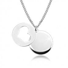 Ogrlica iz srebra 925 – sijoč krog, mat krog s srčastim izrezom