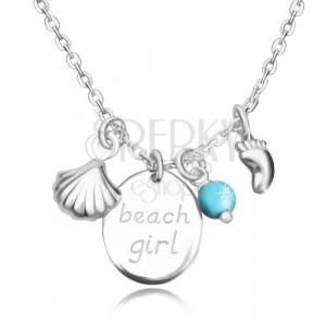 Ogrlica iz srebra 925 – oval z napisom beach girl, odtis stopala, školjka in kroglica