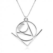 Ogrlica iz srebra 925 – beseda Love z abstraktnim geometrijskim motivom