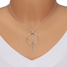 Ogrlica iz srebra 925 - verižica iz ovalnih členov, obris kroga in paličica