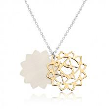 Ogrlica iz srebra 925 – sijoča srčna čakra zlate barve, mat lotusov cvet