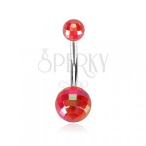 Piercing za popek – akrilna disko kroglica, mavrični lesk