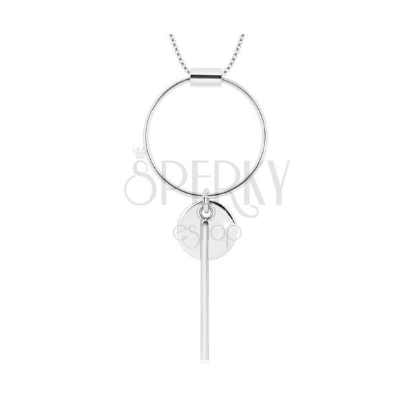 Ogrlica iz srebra 925 – oglata verižica, obris kroga, krogec in paličica