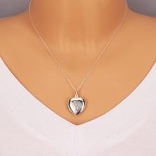 Obesek iz srebra 925 – simetrično srce z gravuro, drevo življenja