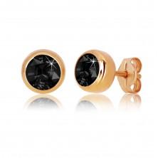 Uhani iz 9-k rožnatega zlata – okrogel črn cirkon, sijoča objemka, 5 mm
