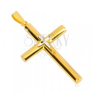 Obesek iz srebra 925 – križ zlate barve, manjši križ na sredini, zrnate zareze