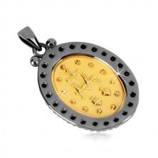 Obesek iz srebra 925 – magični medaljon zlate barve, okrasna obroba temno sive barve