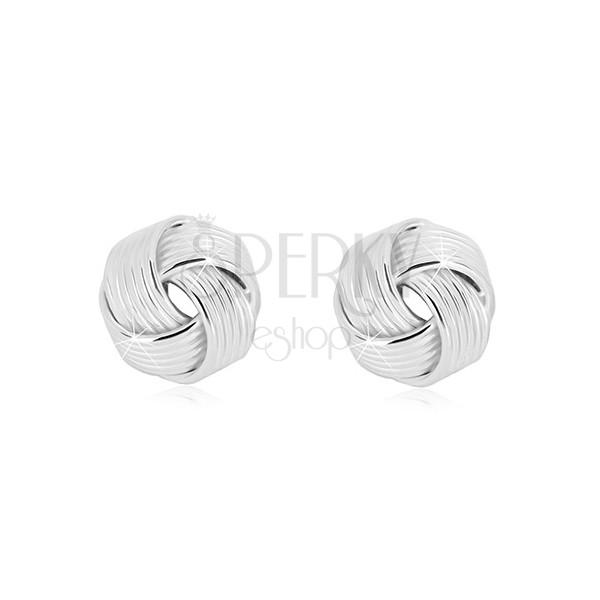 Uhani iz srebra 925 – sijoč vozel z ozkimi linijami, čepki