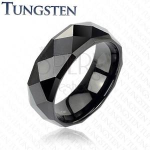 Črn volframov prstan z izpopolnjenimi rombi, 6 mm