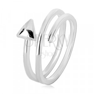 Prstan iz srebra 925 – ozka puščica, ukrivljena v spiralo, sijoča površina