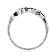 Prstan iz srebra 925 – ozka kraka, izrezan okras z zrni in patino