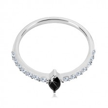 Prstan iz srebra 925 – ozka kraka, zrnast črn cirkon, prozorni cirkoni
