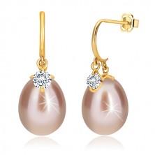 Diamantni uhani iz 14-k rumenega zlata – sijoč lok, ovalen biser in briljant