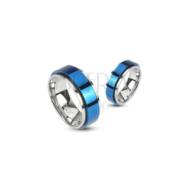 Vrtljiv prstan iz nerjavečega jekla - modra barva