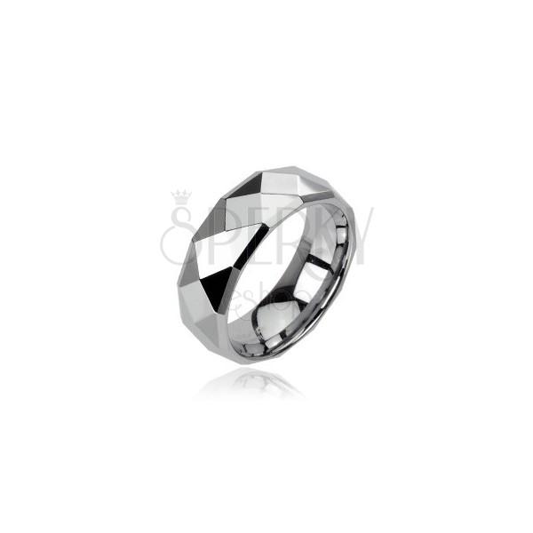 Volframov prstan srebrne barve z rombi, 6 mm