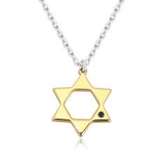 Ogrlica iz srebra 925 – Davidova zvezda zlate barve, črn diamant