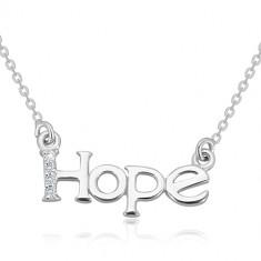 Ogrlica iz srebra 925 – lesketava verižica, napis HOPE z linijo diamantov