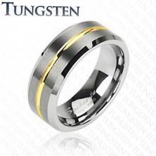 Volframov prstan z zlatim pasom, 8 mm