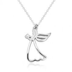Ogrlica iz srebra 925 – izrezan angel s srcem, prozoren diamant