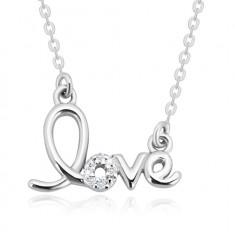 Ogrlica iz srebra 925 – okrasno izrezan napis love, lesketavi briljanti