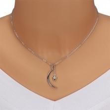 Diamantna ogrlica, srebro 925 – sijoč polmesec in zvezda z briljantom