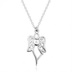 Ogrlica iz srebra 925 – izrezan angel, srce s prozornim diamantom